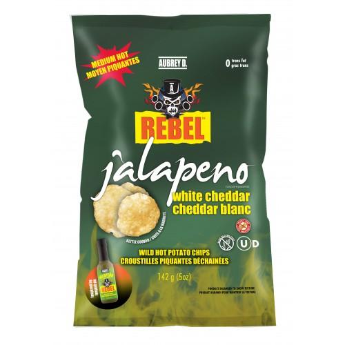 Aubrey D Rebel Jalapeno White Cheddar Potato Chips (14 x 142g bags)