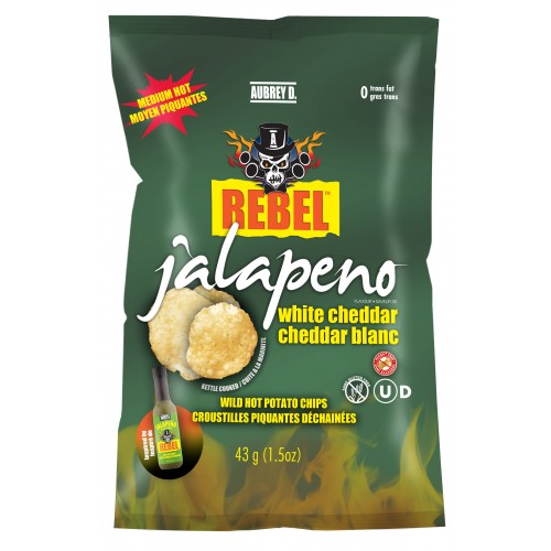 Aubrey D Rebel Jalapeno White Cheddar Potato Chips (24 x 43g bags)